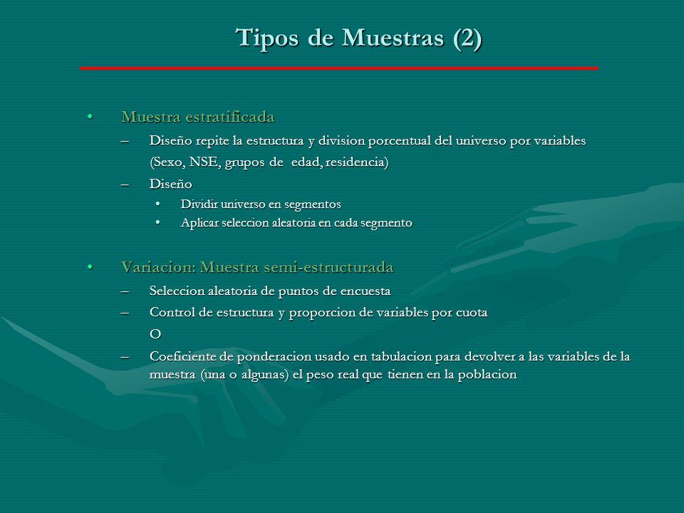 Tipos de Muestras (2) Muestra estratificada