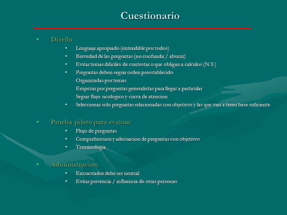 Cuestionario Diseño Prueba piloto para evaluar Administracion