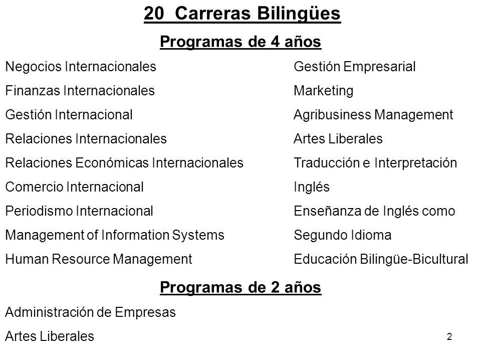 20 Carreras Bilingües Programas de 4 años Programas de 2 años
