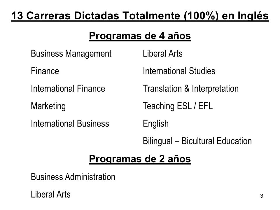 13 Carreras Dictadas Totalmente (100%) en Inglés