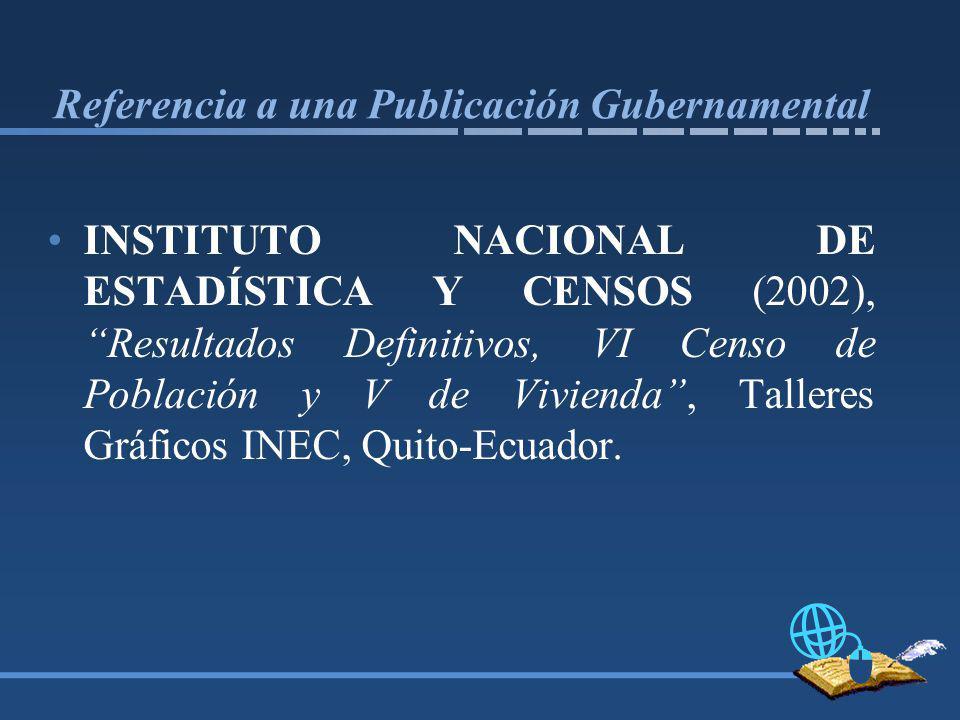 Referencia a una Publicación Gubernamental