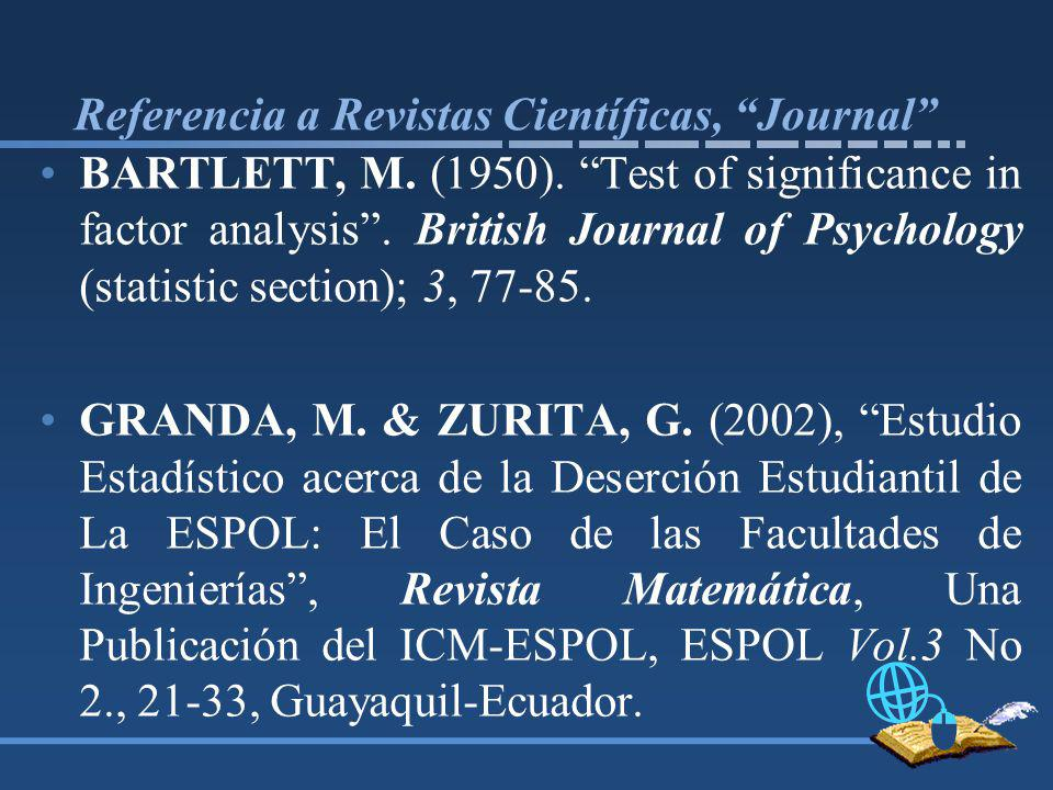 Referencia a Revistas Científicas, Journal