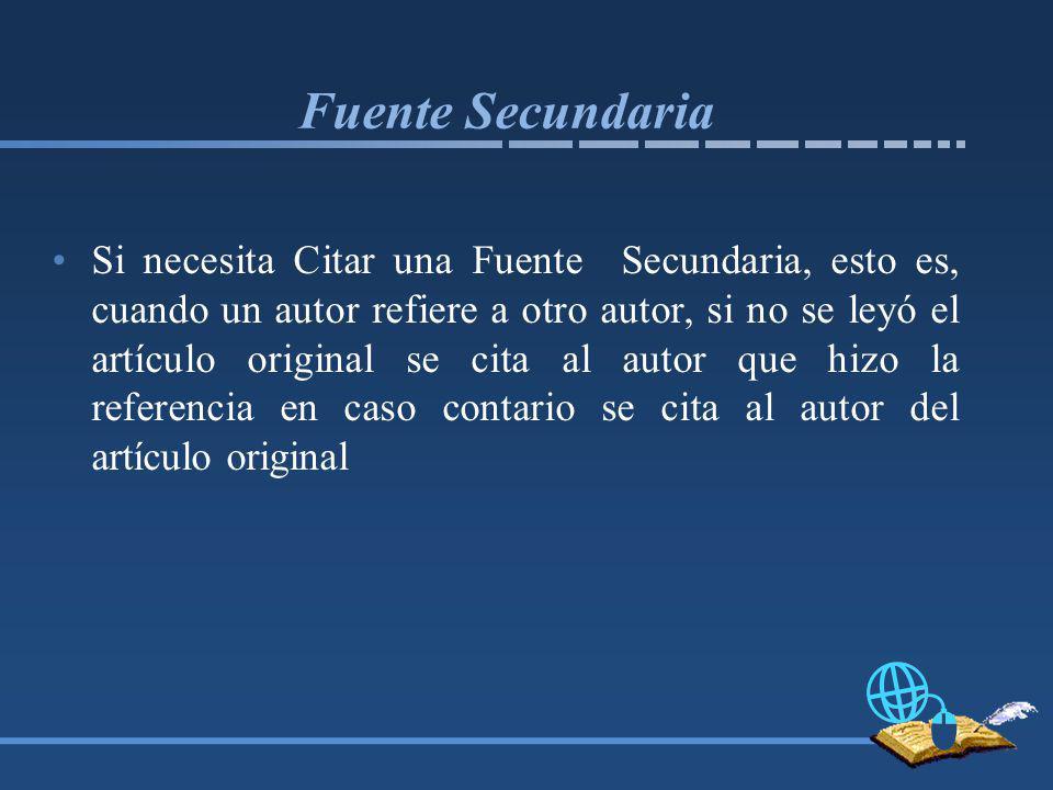 Fuente Secundaria