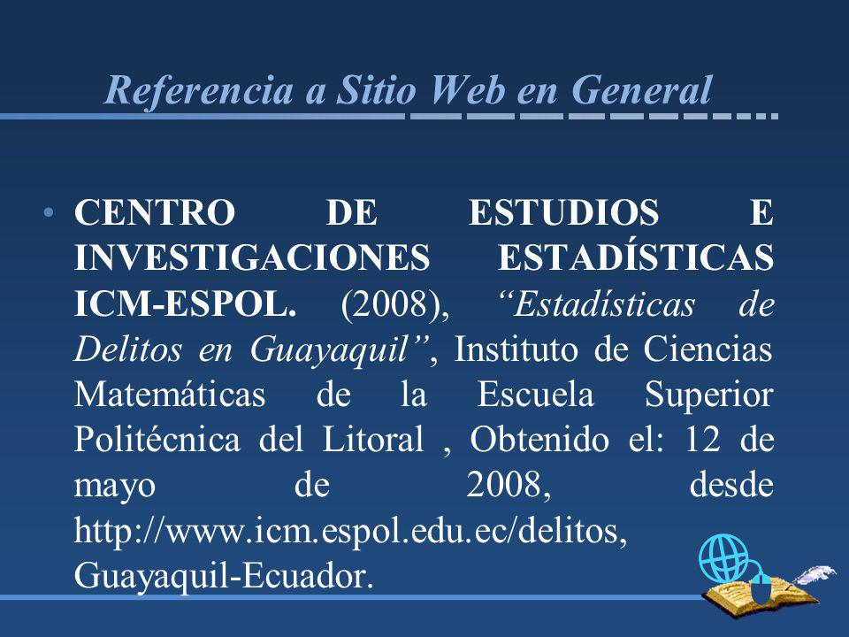 Referencia a Sitio Web en General