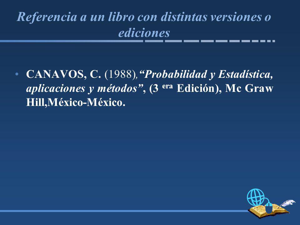 Referencia a un libro con distintas versiones o ediciones
