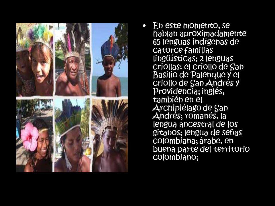 En este momento, se hablan aproximadamente 65 lenguas indígenas de catorce familias lingüísticas; 2 lenguas criollas: el criollo de San Basilio de Palenque y el criollo de San Andrés y Providencia; inglés, también en el Archipiélago de San Andrés; romanés, la lengua ancestral de los gitanos; lengua de señas colombiana; árabe, en buena parte del territorio colombiano;