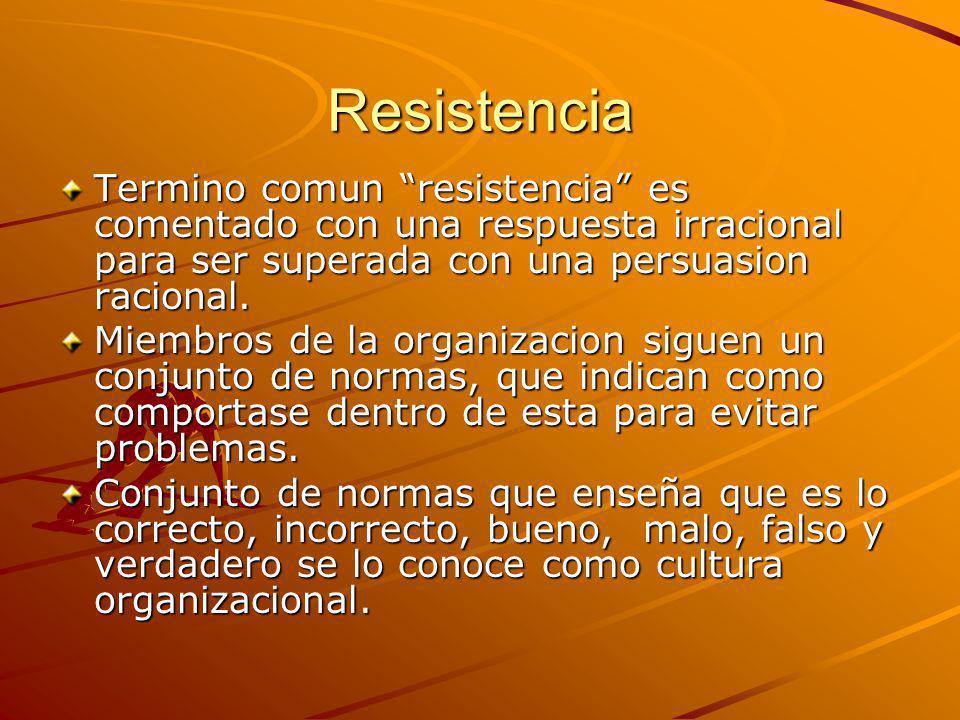 Resistencia Termino comun resistencia es comentado con una respuesta irracional para ser superada con una persuasion racional.