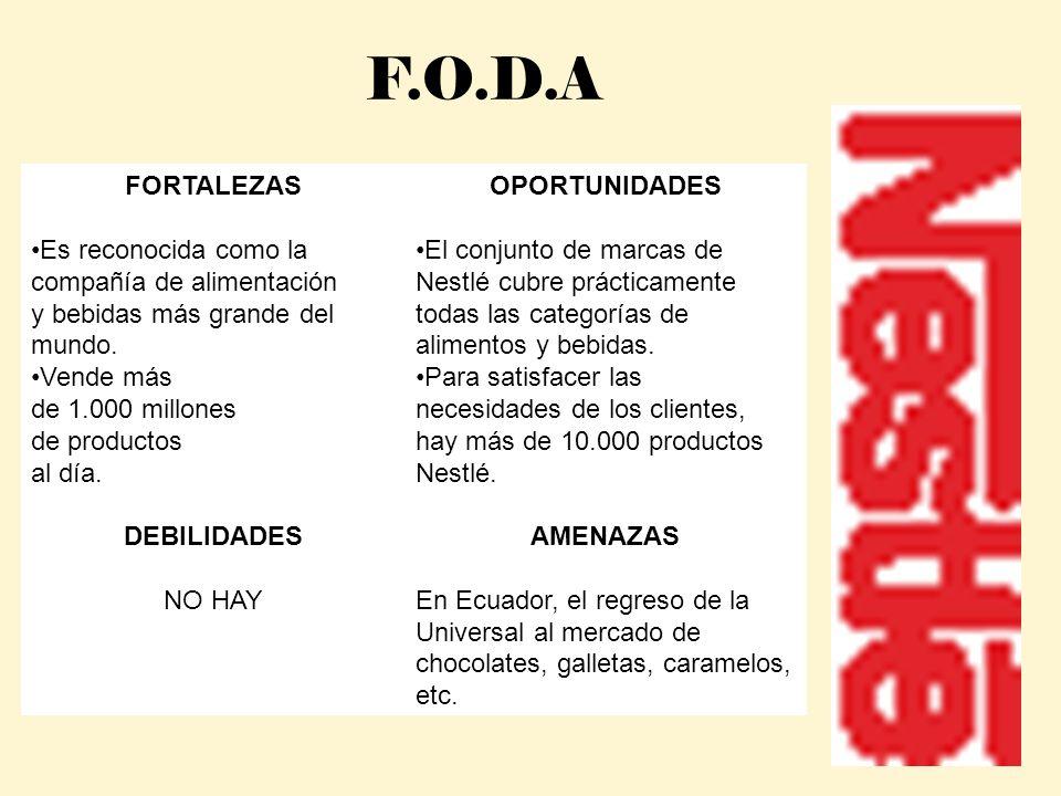 F.O.D.A FORTALEZAS. Es reconocida como la compañía de alimentación y bebidas más grande del mundo.