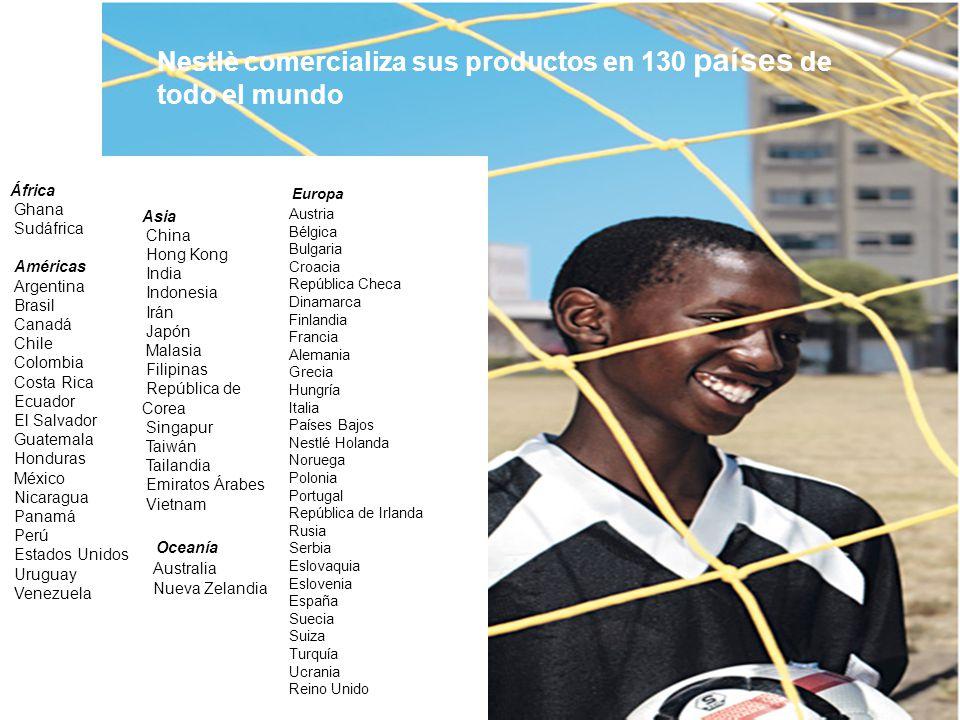 Nestlè comercializa sus productos en 130 países de todo el mundo