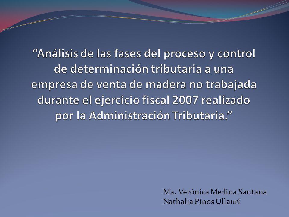Análisis de las fases del proceso y control de determinación tributaria a una empresa de venta de madera no trabajada durante el ejercicio fiscal 2007 realizado por la Administración Tributaria.