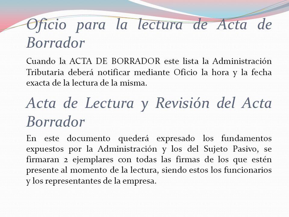Acta de Lectura y Revisión del Acta Borrador
