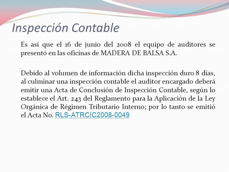 Inspección Contable Es así que el 16 de junio del 2008 el equipo de auditores se presentó en las oficinas de MADERA DE BALSA S.A.