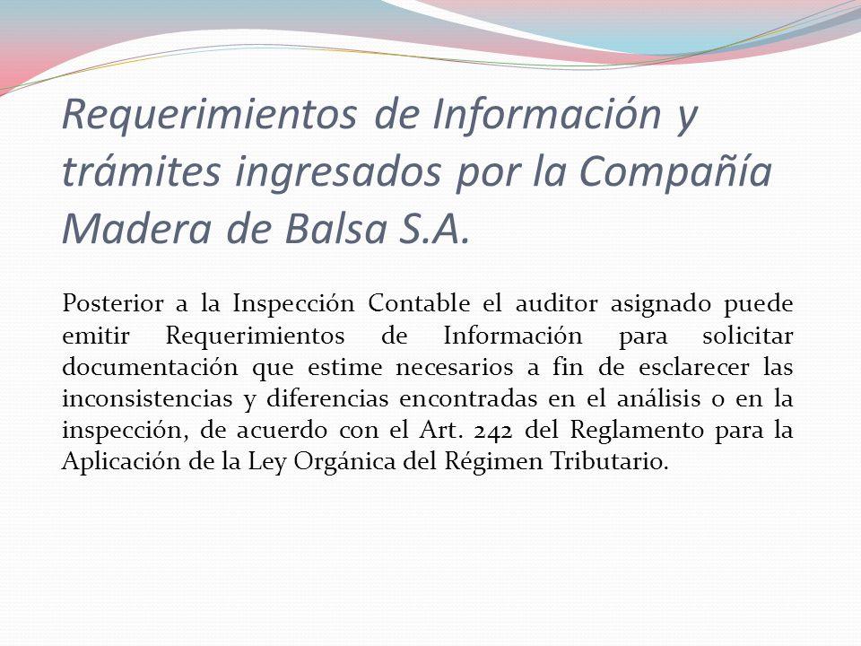 Requerimientos de Información y trámites ingresados por la Compañía Madera de Balsa S.A.