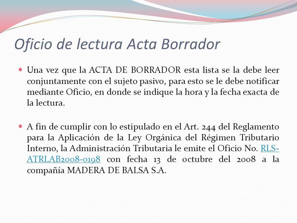 Oficio de lectura Acta Borrador