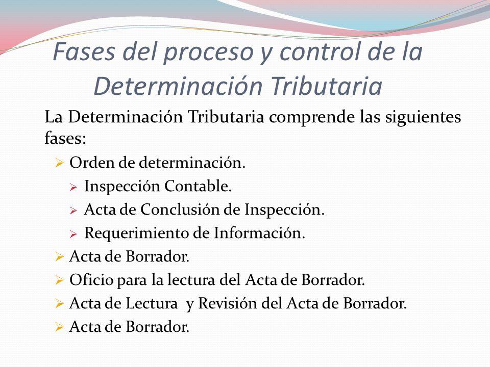 Fases del proceso y control de la Determinación Tributaria
