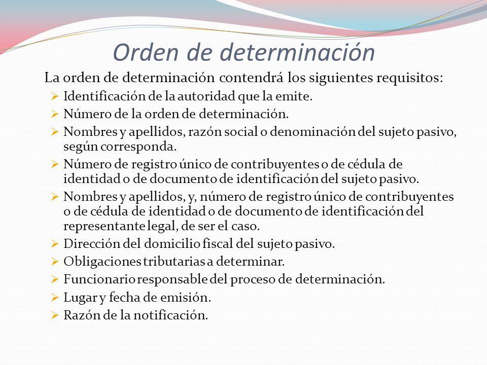 Orden de determinación