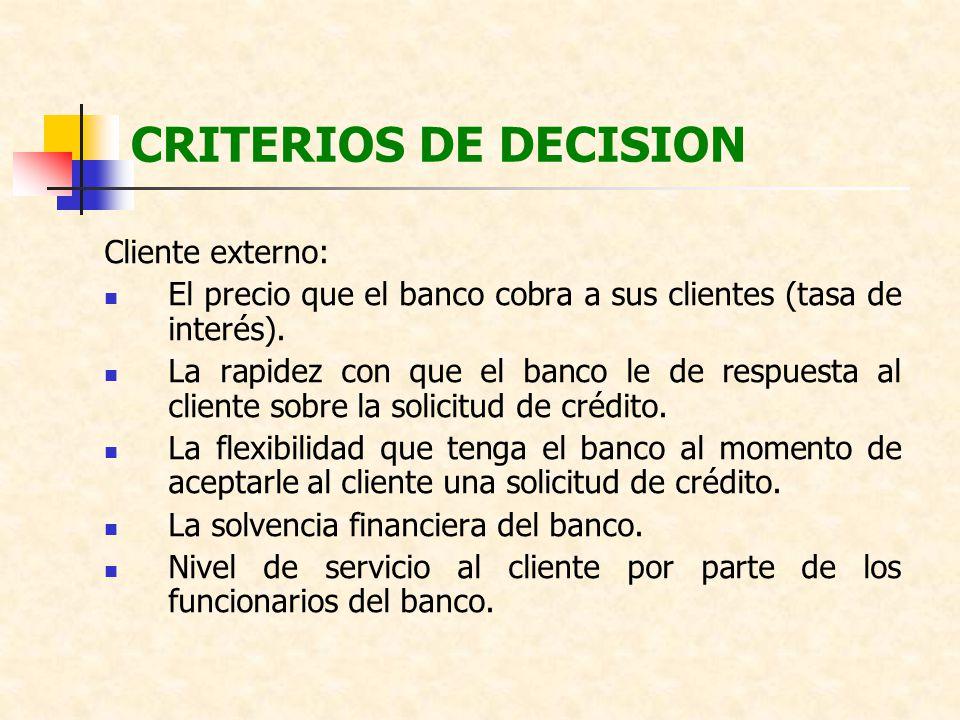 CRITERIOS DE DECISION Cliente externo: