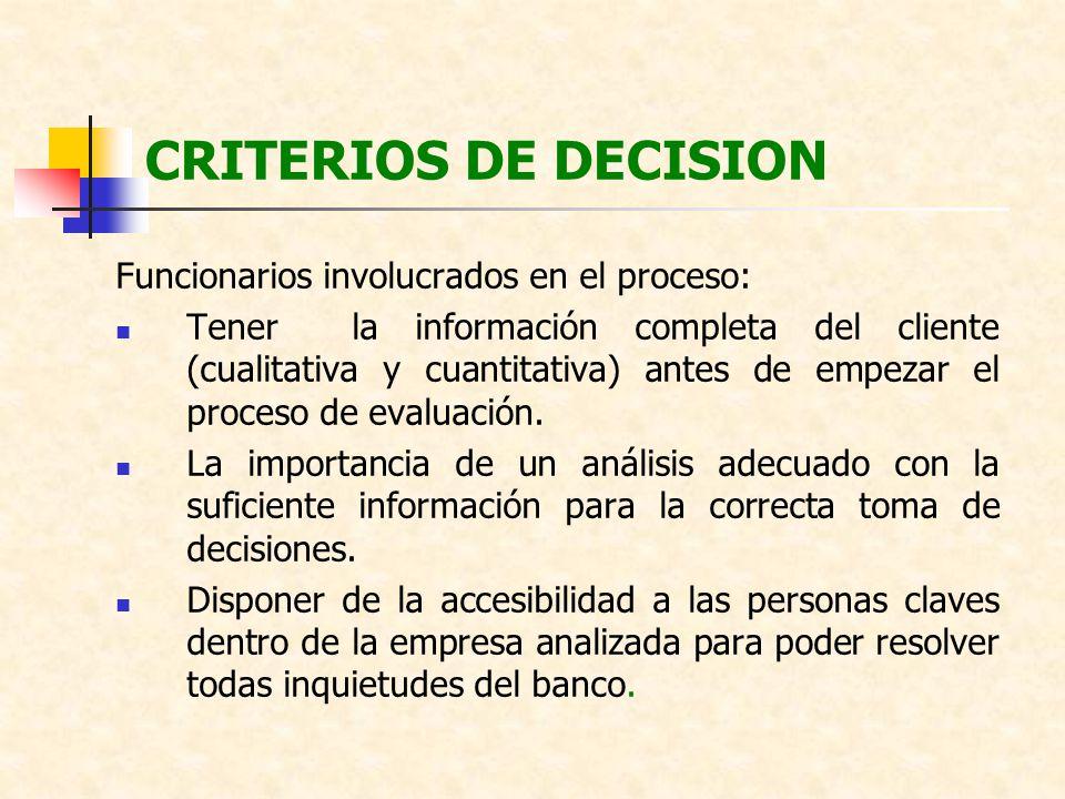 CRITERIOS DE DECISION Funcionarios involucrados en el proceso: