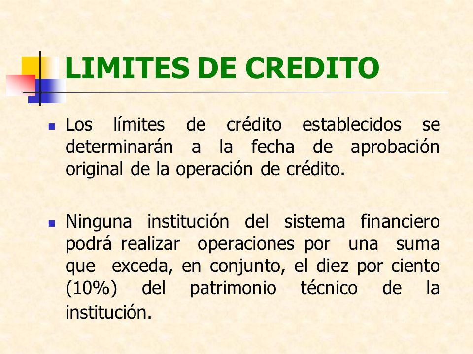 LIMITES DE CREDITO Los límites de crédito establecidos se determinarán a la fecha de aprobación original de la operación de crédito.