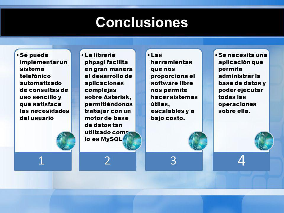 Conclusiones 1. Se puede implementar un sistema telefónico automatizado de consultas de uso sencillo y que satisface las necesidades del usuario.