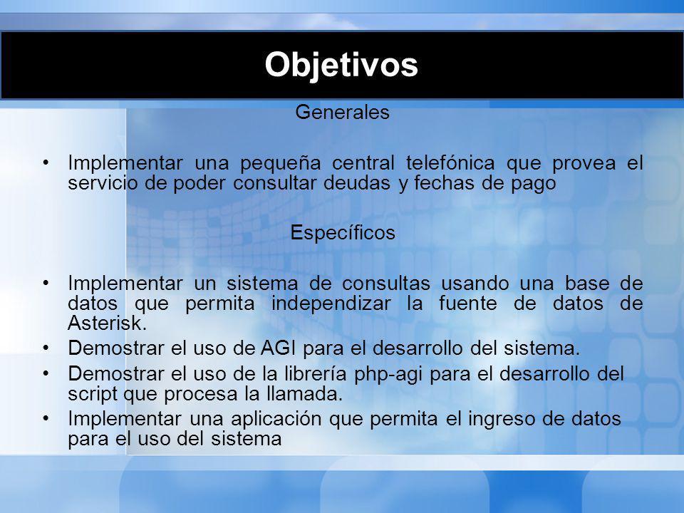 Objetivos Generales. Implementar una pequeña central telefónica que provea el servicio de poder consultar deudas y fechas de pago.