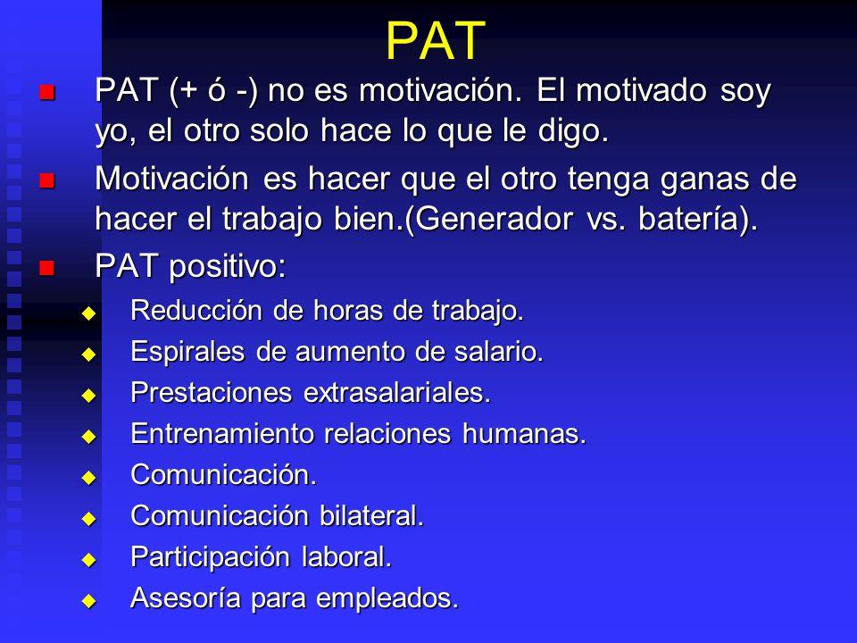PAT PAT (+ ó -) no es motivación. El motivado soy yo, el otro solo hace lo que le digo.
