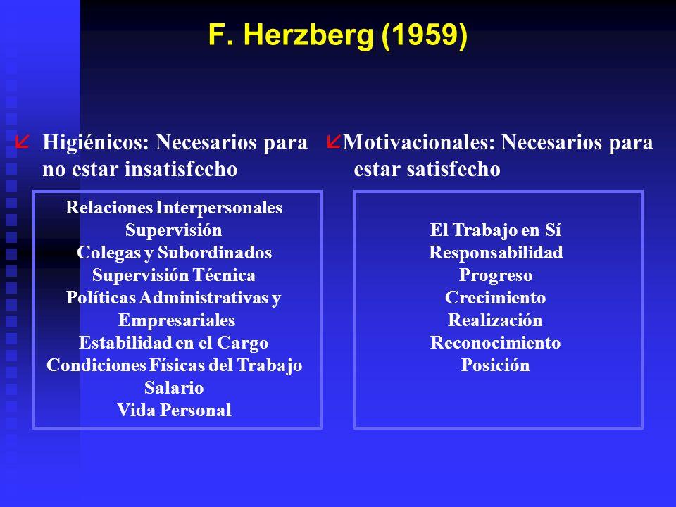 F. Herzberg (1959) Higiénicos: Necesarios para no estar insatisfecho