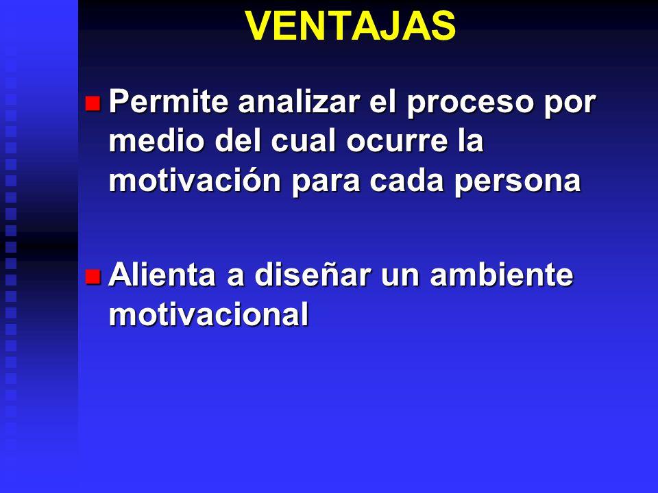 VENTAJAS Permite analizar el proceso por medio del cual ocurre la motivación para cada persona.