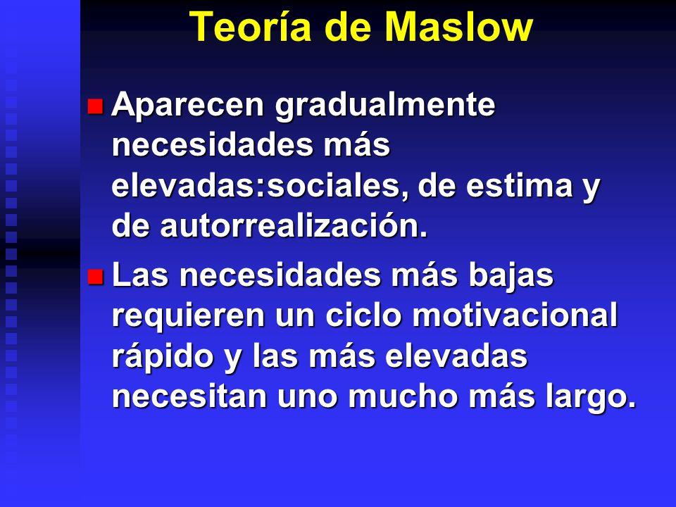 Teoría de Maslow Aparecen gradualmente necesidades más elevadas:sociales, de estima y de autorrealización.