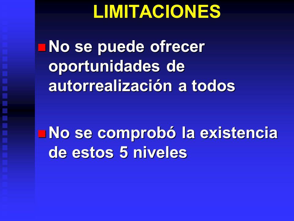 LIMITACIONES No se puede ofrecer oportunidades de autorrealización a todos.