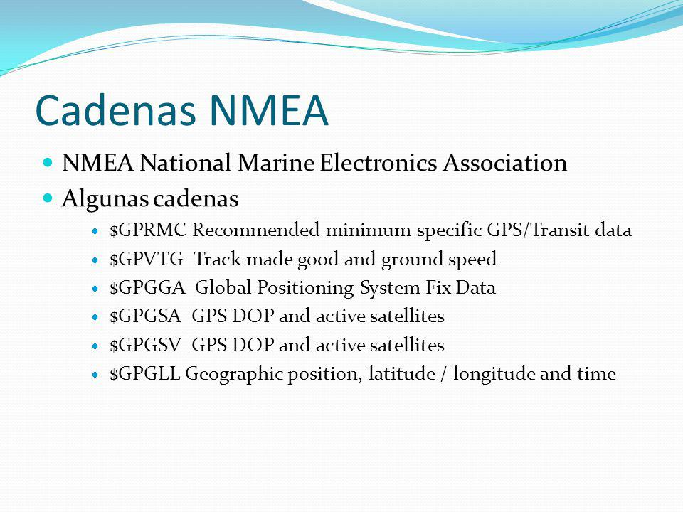 Cadenas NMEA NMEA National Marine Electronics Association