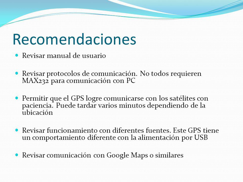 Recomendaciones Revisar manual de usuario