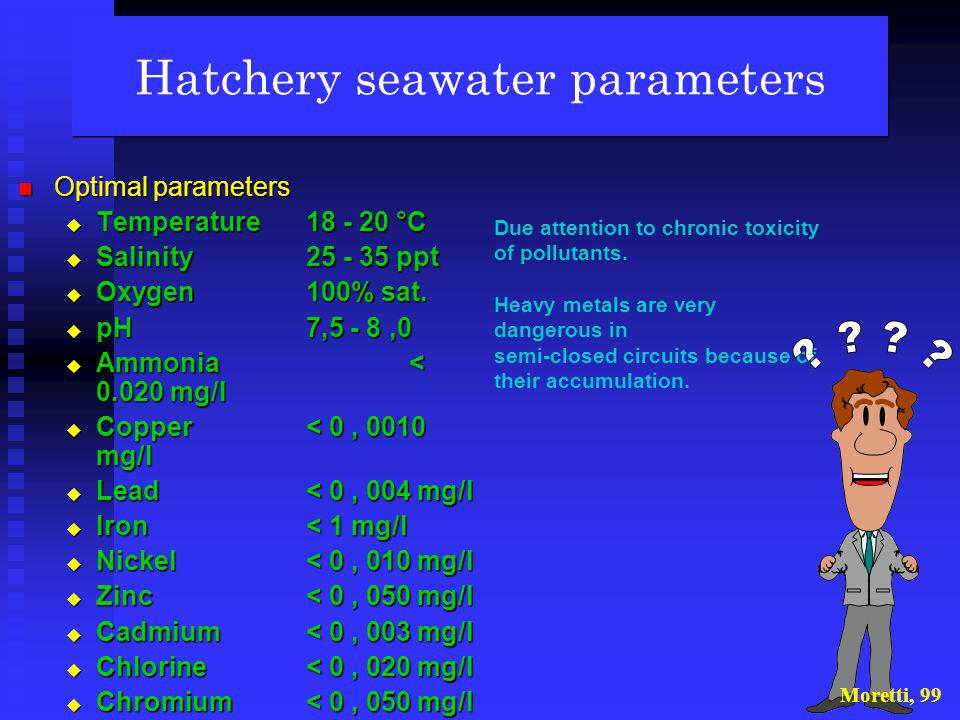 Hatchery seawater parameters