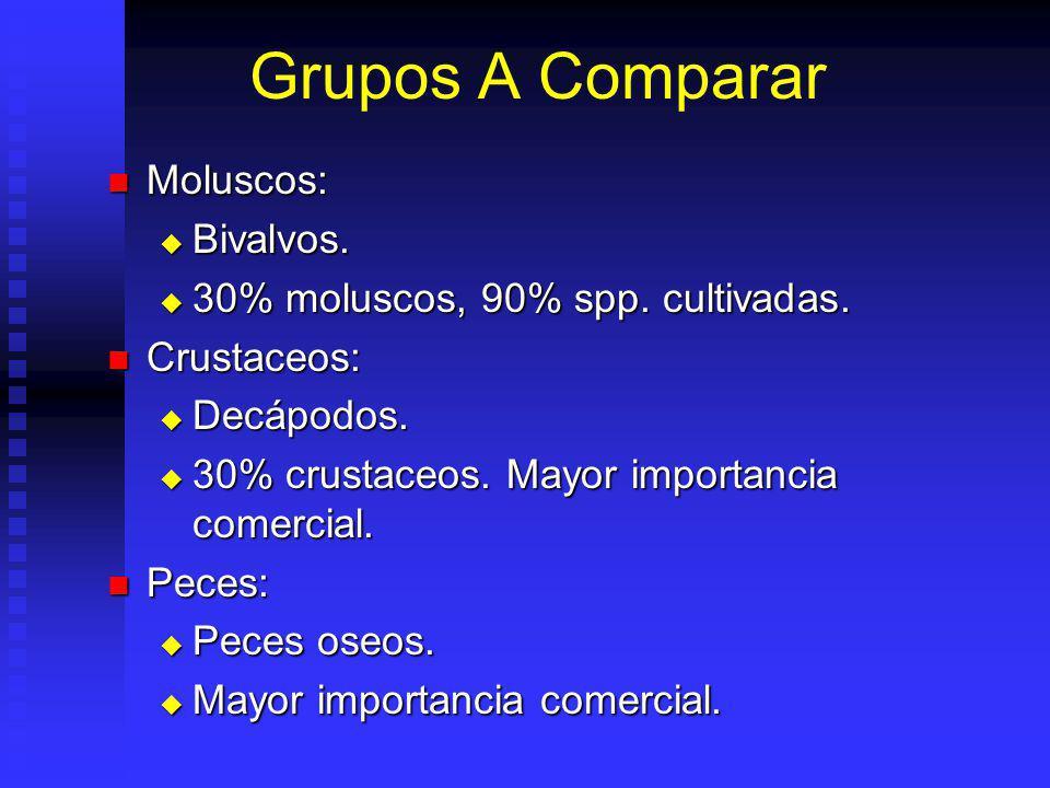 Grupos A Comparar Moluscos: Bivalvos.