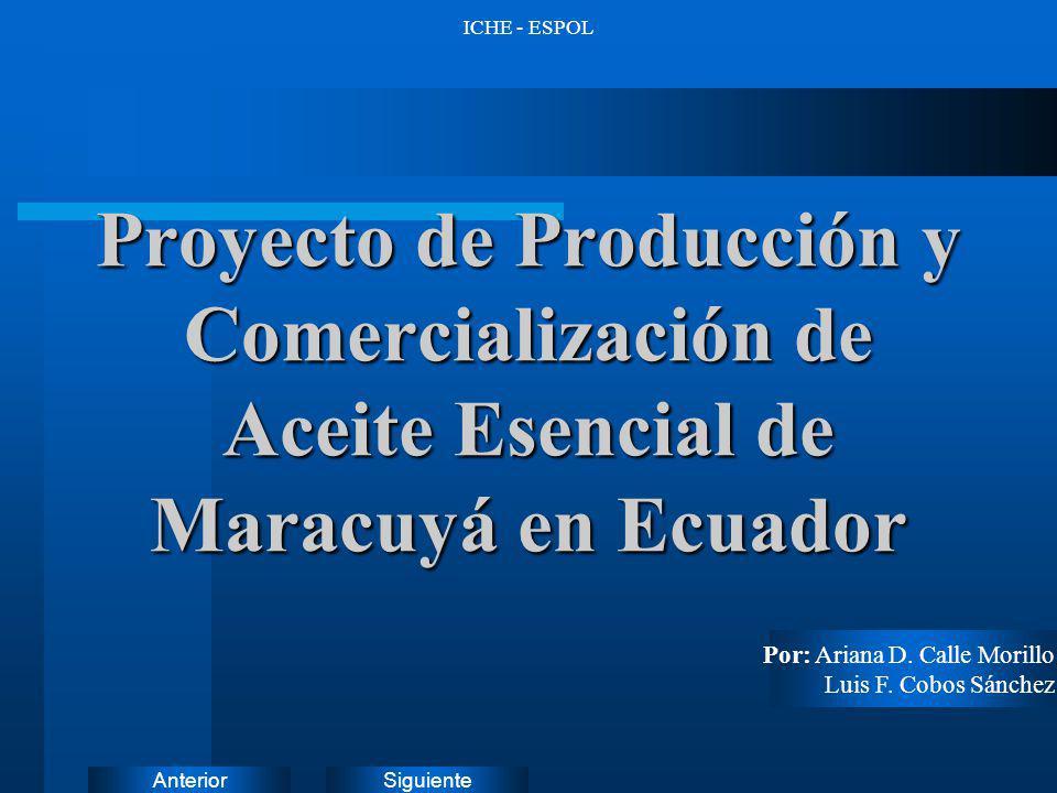 ICHE - ESPOL Proyecto de Producción y Comercialización de Aceite Esencial de Maracuyá en Ecuador. Por: Ariana D. Calle Morillo.