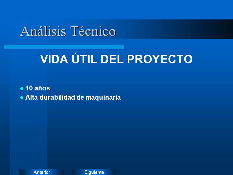 Análisis Técnico VIDA ÚTIL DEL PROYECTO 10 años