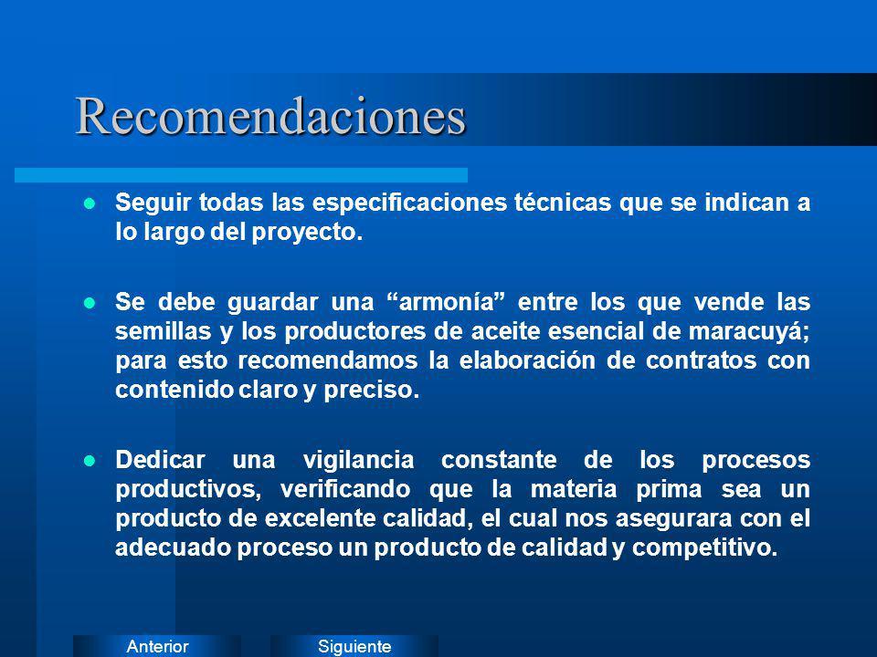 Recomendaciones Seguir todas las especificaciones técnicas que se indican a lo largo del proyecto.