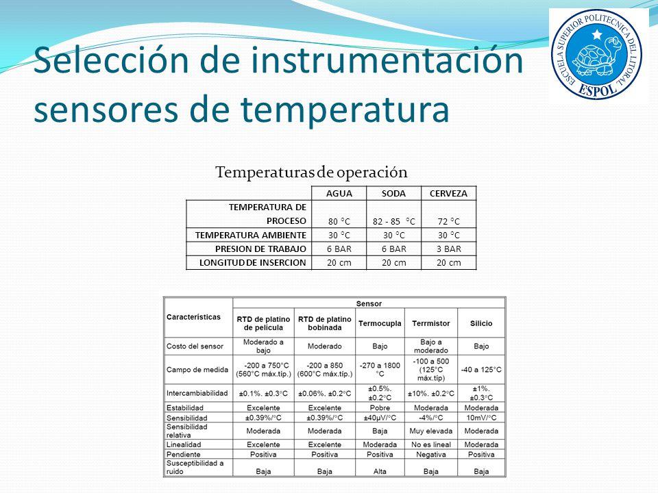 Selección de instrumentación sensores de temperatura