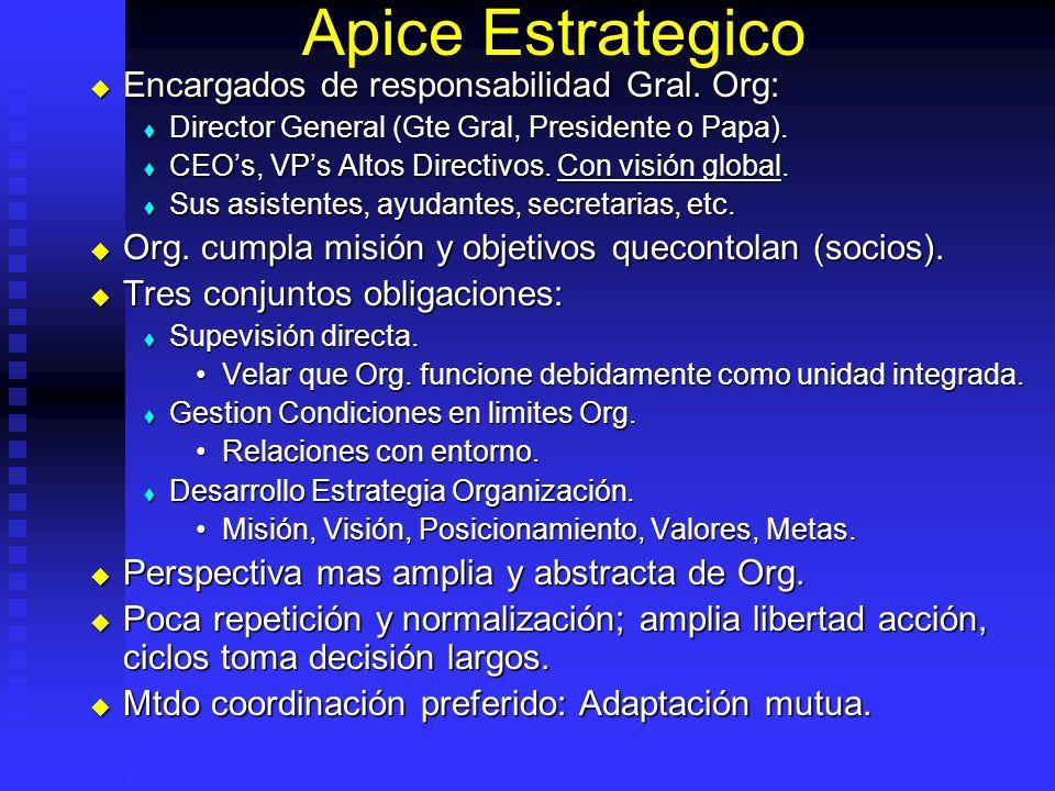 Apice Estrategico Encargados de responsabilidad Gral. Org: