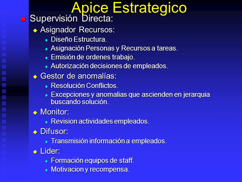 Apice Estrategico Supervisión Directa: Asignador Recursos: