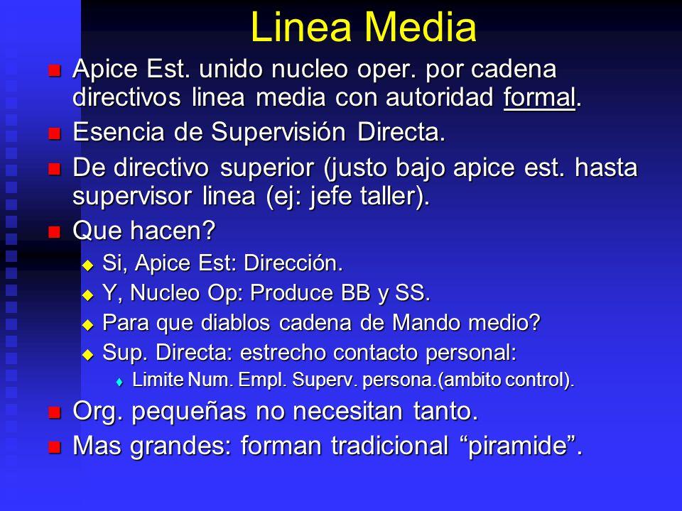 Linea Media Apice Est. unido nucleo oper. por cadena directivos linea media con autoridad formal. Esencia de Supervisión Directa.