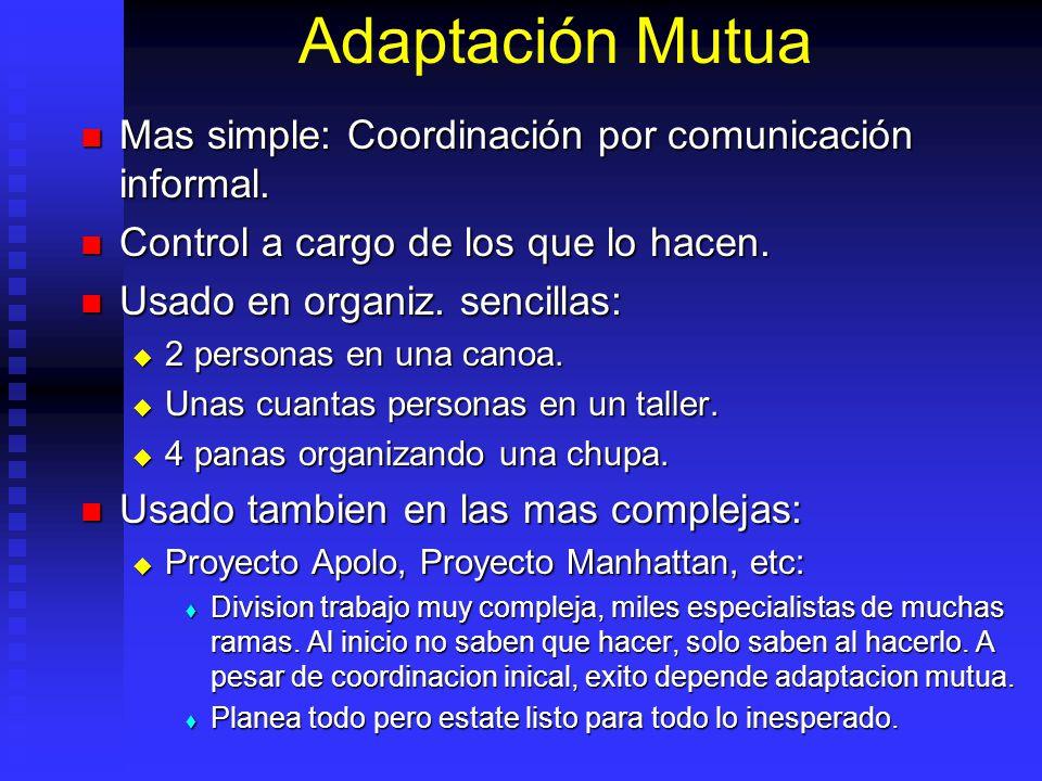 Adaptación Mutua Mas simple: Coordinación por comunicación informal.