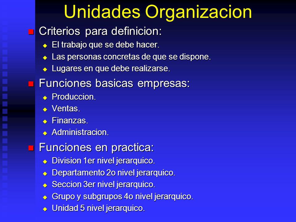 Unidades Organizacion