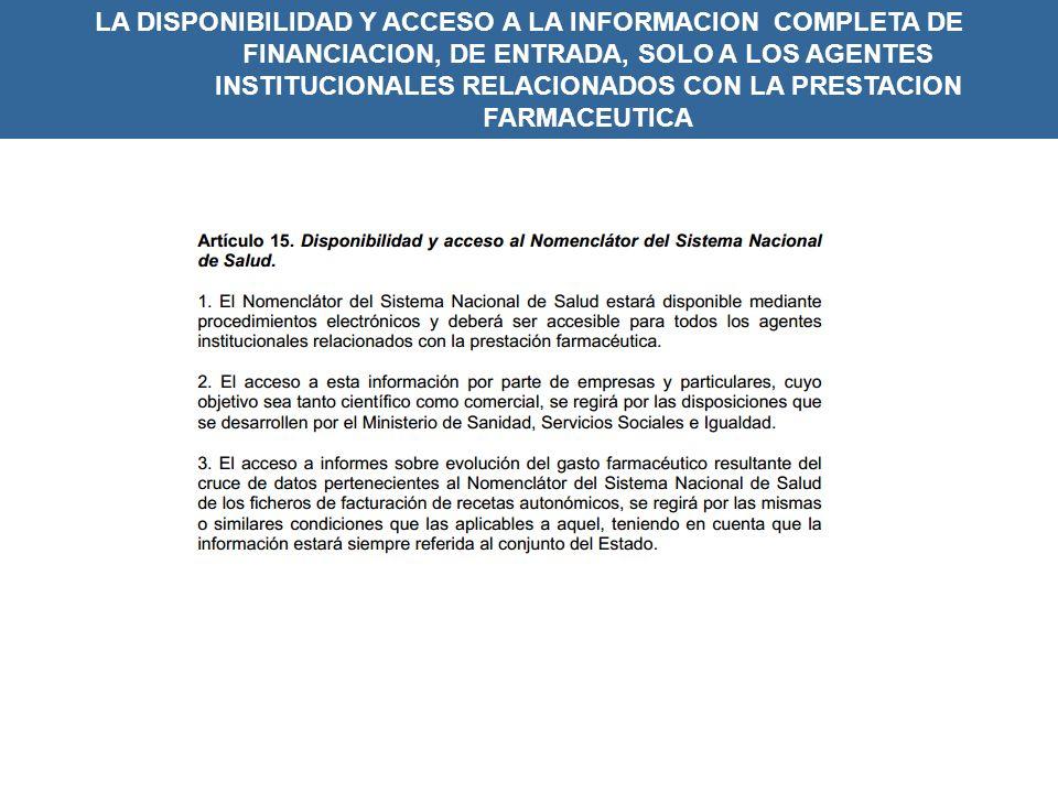 LA DISPONIBILIDAD Y ACCESO A LA INFORMACION COMPLETA DE FINANCIACION, DE ENTRADA, SOLO A LOS AGENTES INSTITUCIONALES RELACIONADOS CON LA PRESTACION FARMACEUTICA