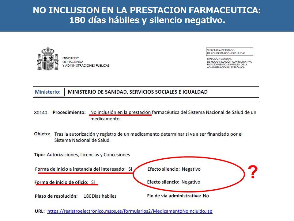 NO INCLUSION EN LA PRESTACION FARMACEUTICA: