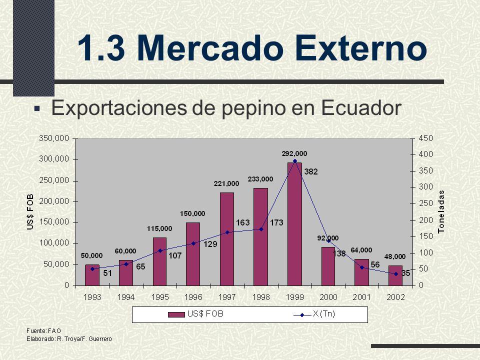 1.3 Mercado Externo Exportaciones de pepino en Ecuador