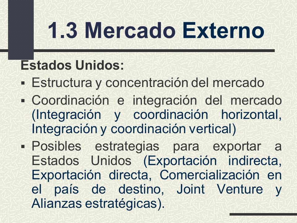 1.3 Mercado Externo Estados Unidos:
