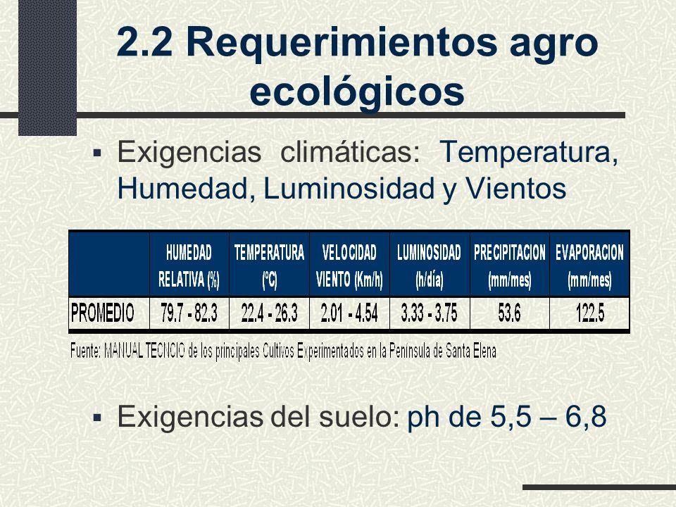 2.2 Requerimientos agro ecológicos