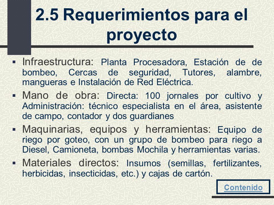 2.5 Requerimientos para el proyecto