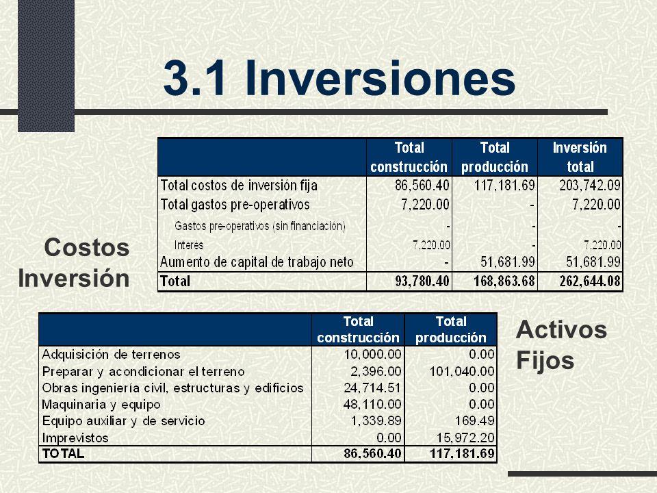 3.1 Inversiones Costos Inversión Activos Fijos
